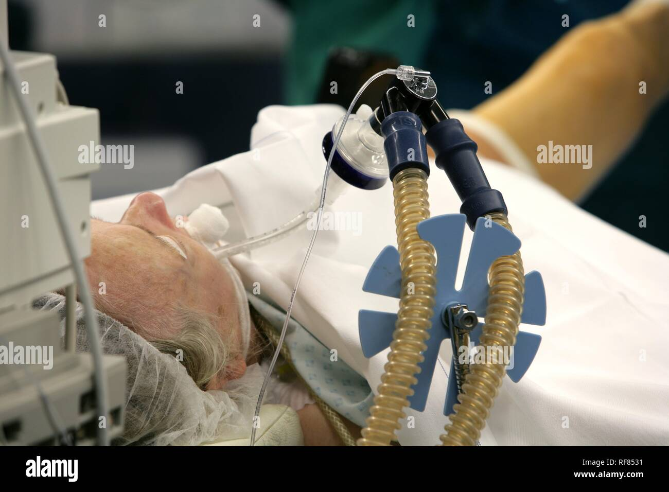 Patient during operation, artificial respiration, Germany - Stock Image