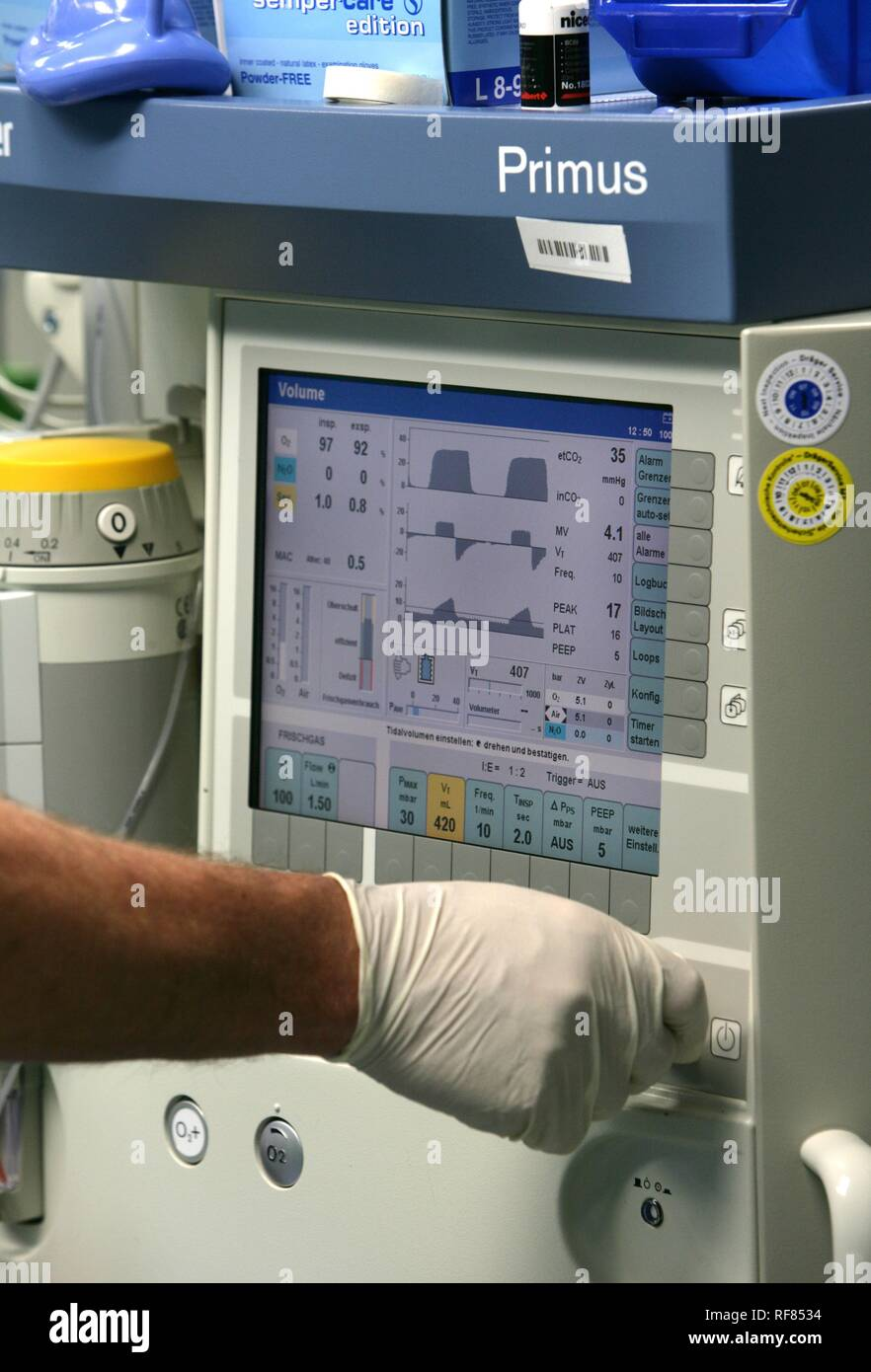 Anaesthetic machine, Germany - Stock Image