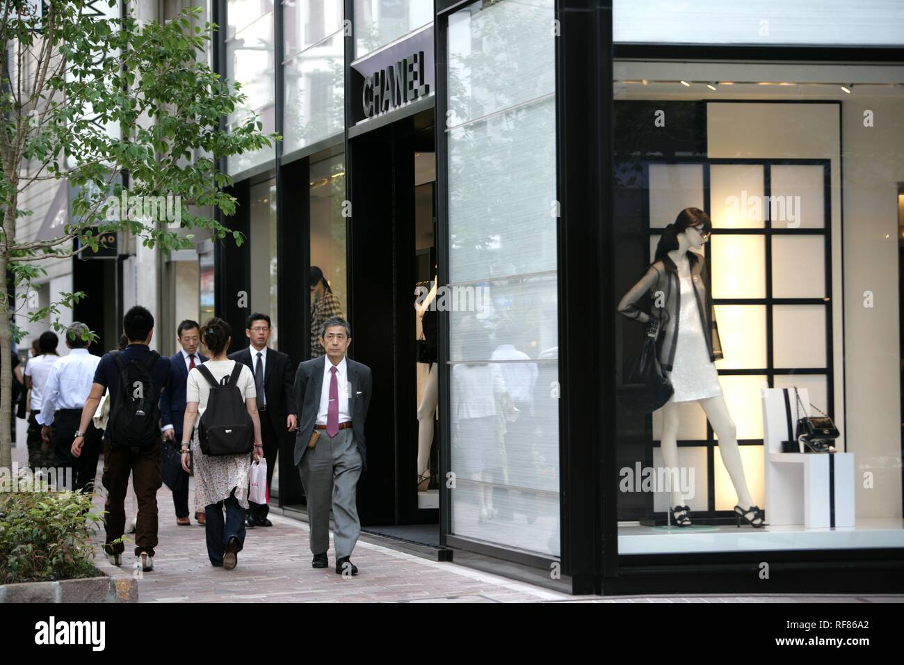 Ginza elegant shopping and entertainments district Chanel Store Tokyo Japan - Stock Image