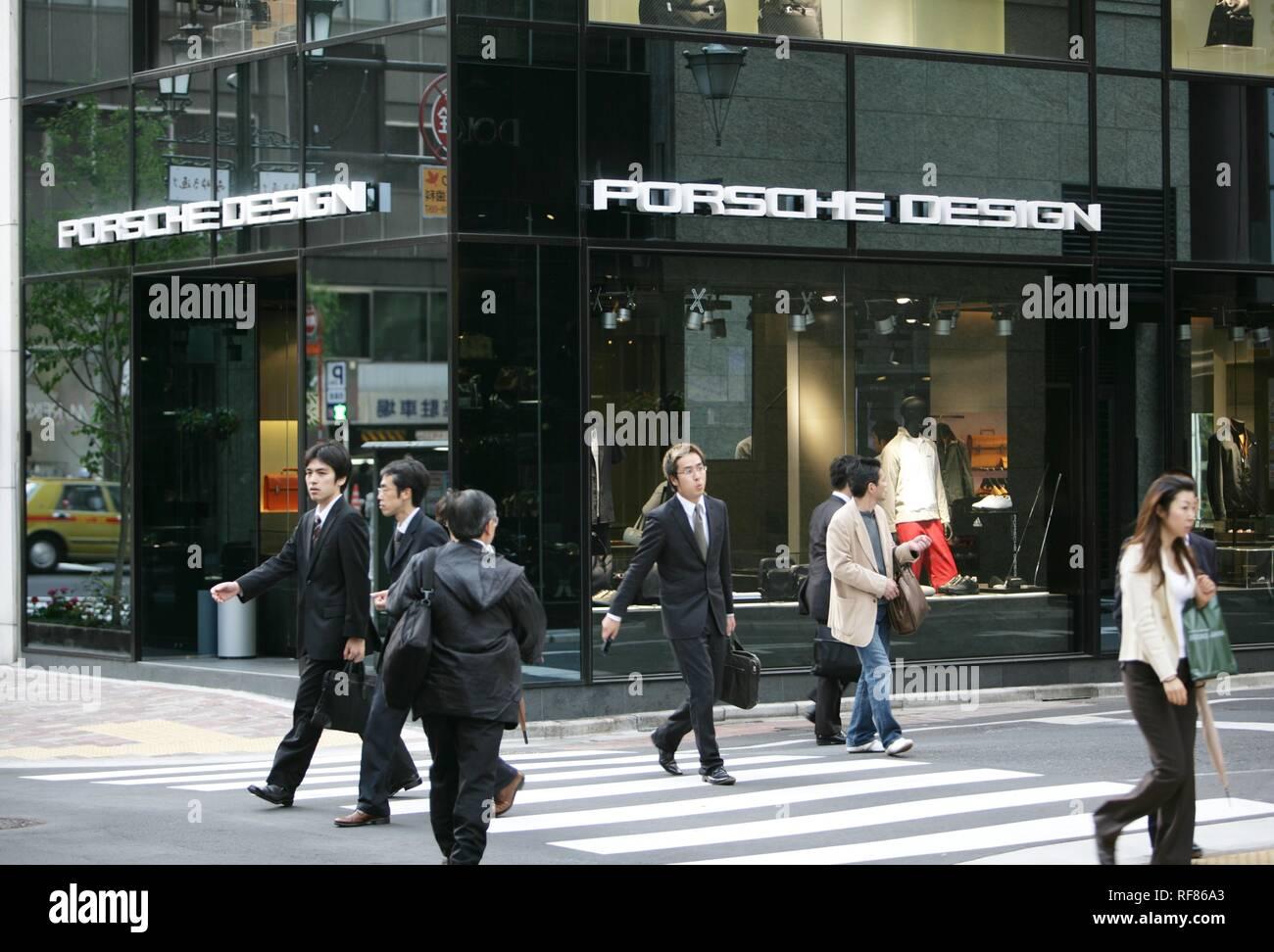 Ginza elegant shopping and entertainments district Porsche Design store Tokyo Japan - Stock Image