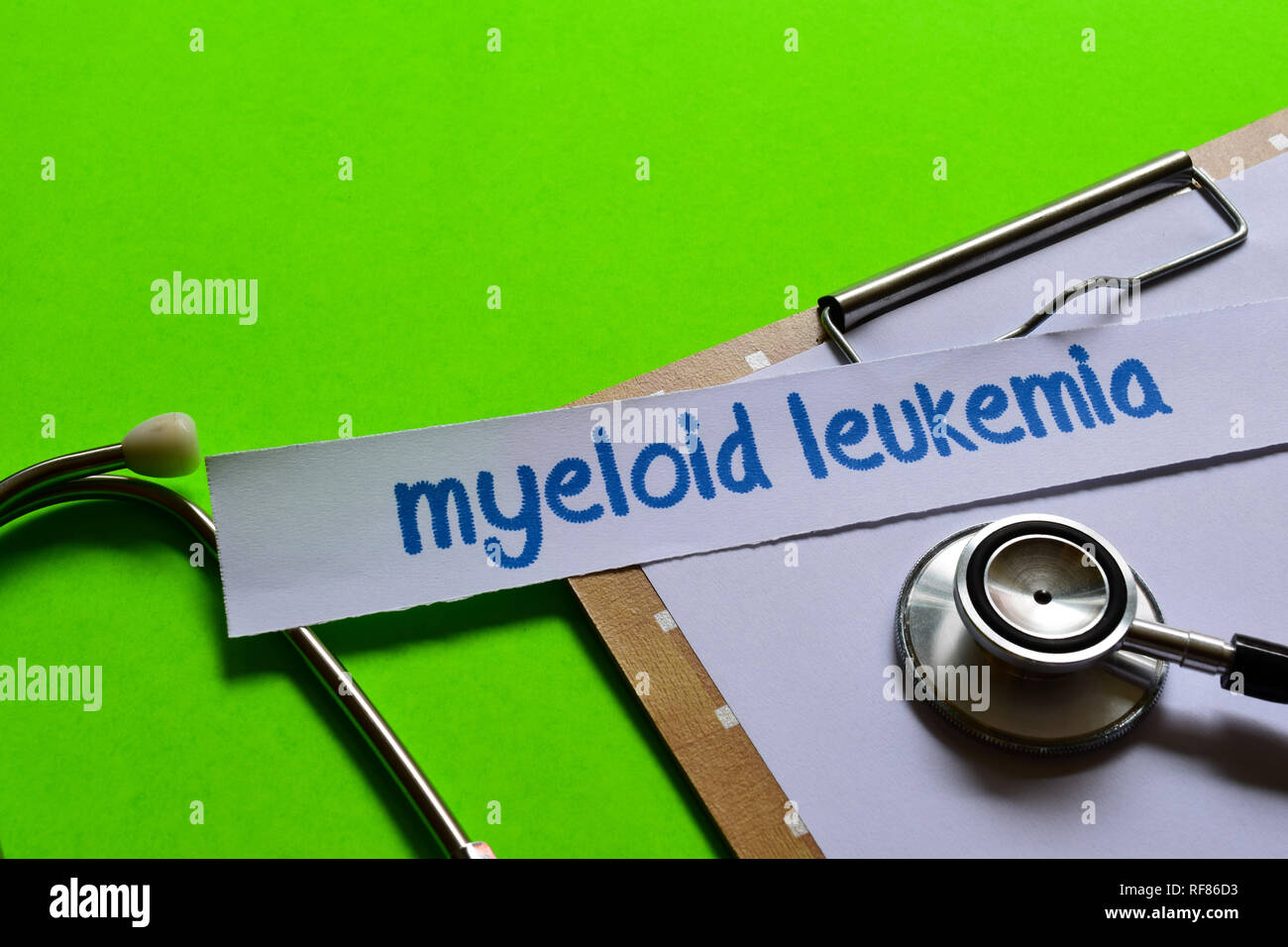 Myeloid leukemia on healthcare concept inspiration with green background - Stock Image
