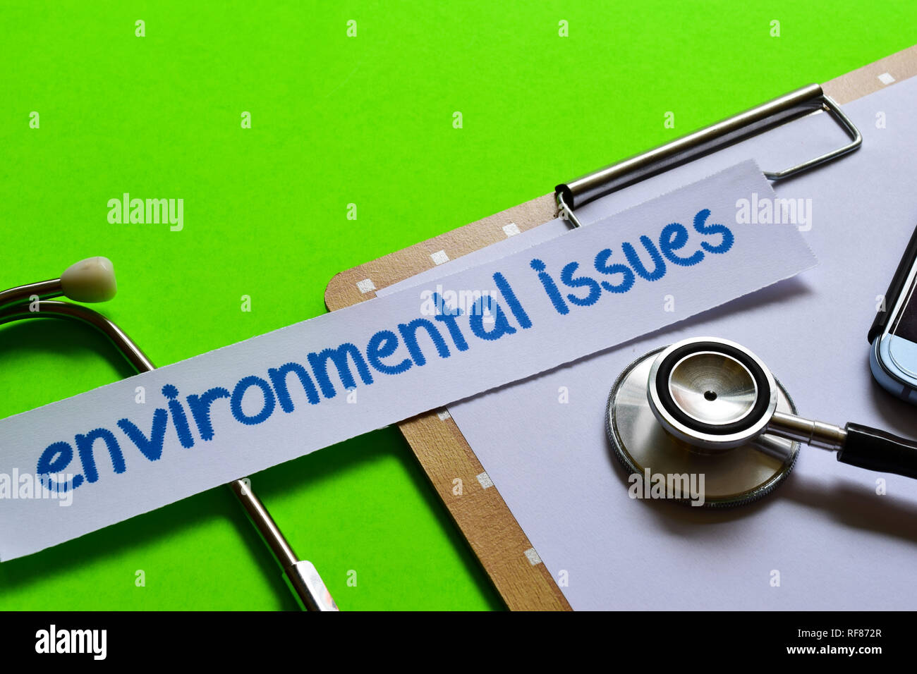 Environmental issues on healthcare concept inspiration with green background - Stock Image
