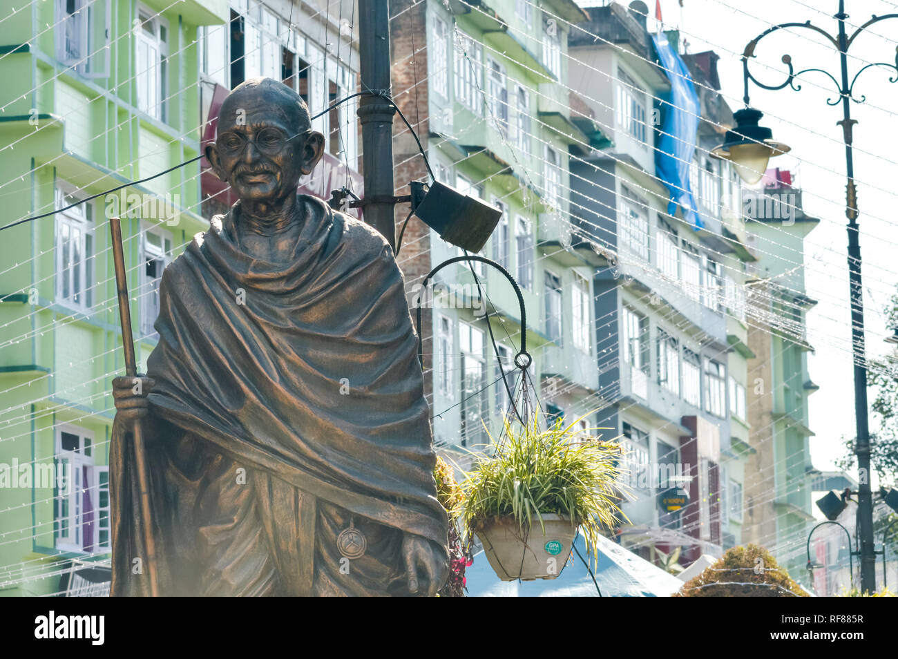 The statue of Mahatma Gandhi in MG Marg near mall road, Gangtok, Sikkim, India one of most visited in the city for tourist attractions. - Stock Image