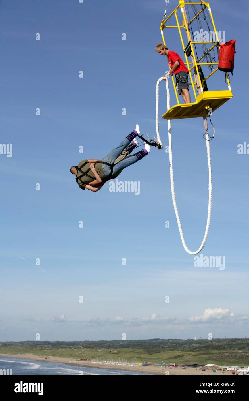 Bungee jumping from the pier, Scheveningen, The Hague, The Netherlands, Europe Stock Photo