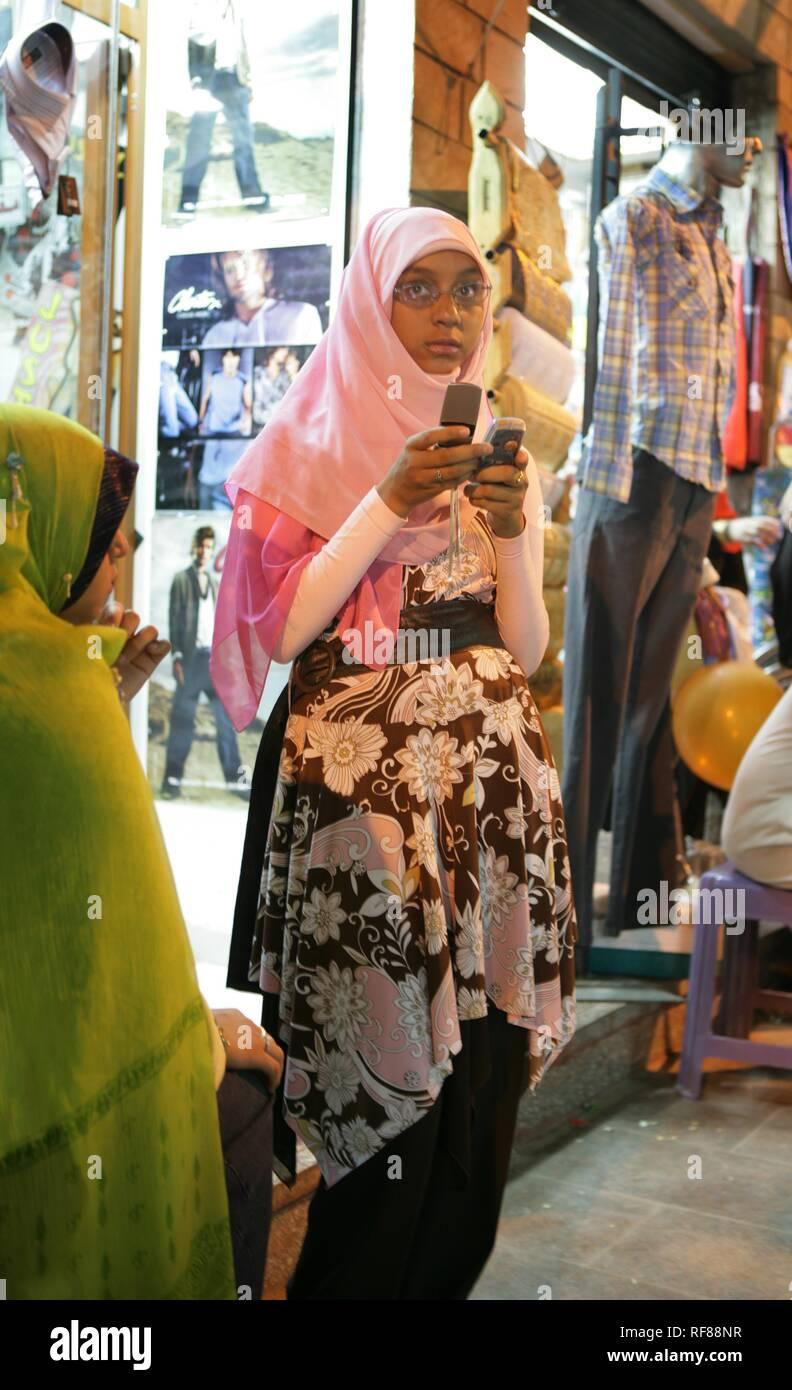 Sharia El Souk Street Bazaar, local shopping area in Aswan, Egypt, Africa - Stock Image