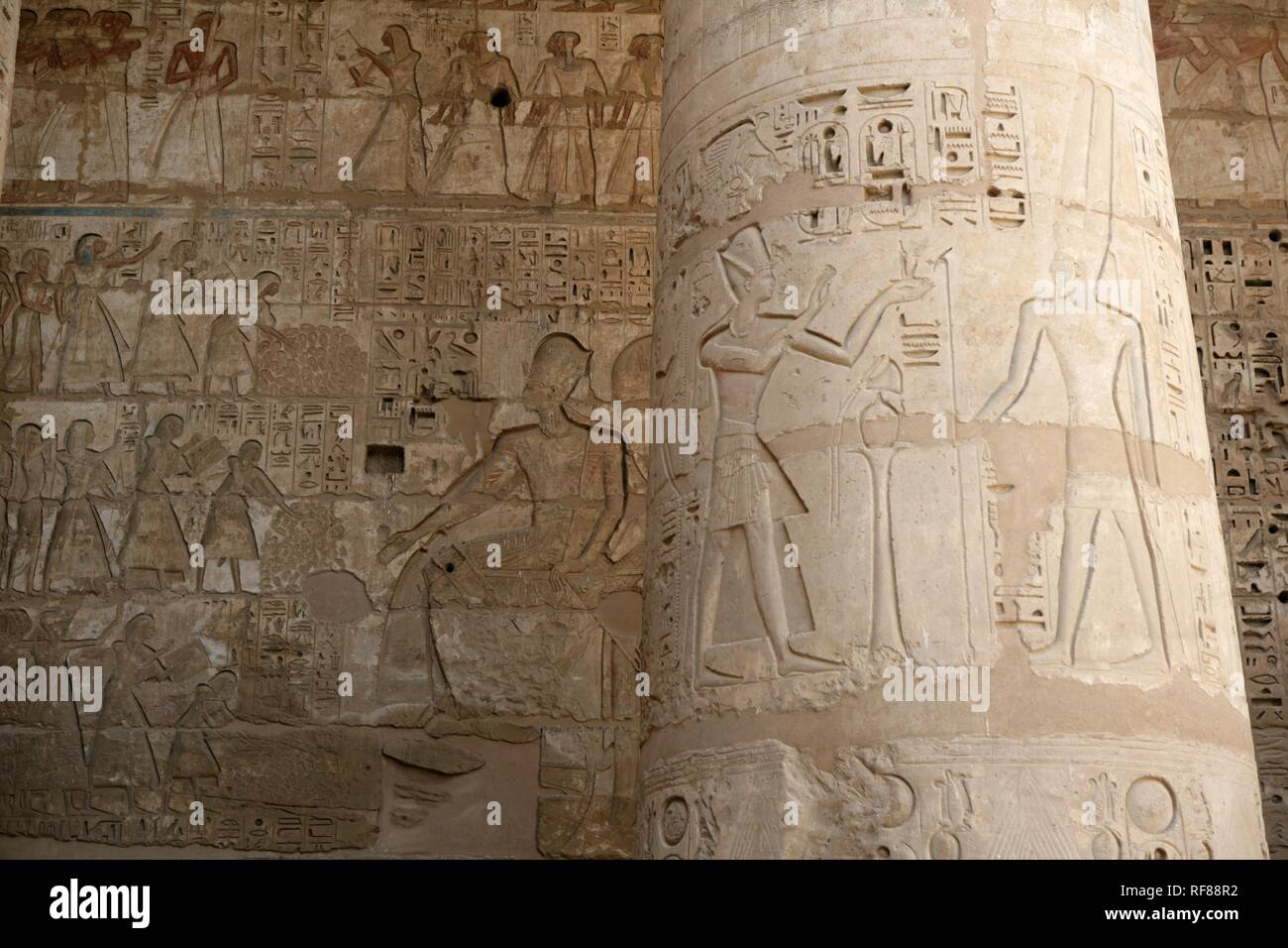 Hieroglyphs, Medinet Habu, Mortuary Temple of Ramesses III, West Thebes, Luxor, Egypt, Africa Stock Photo