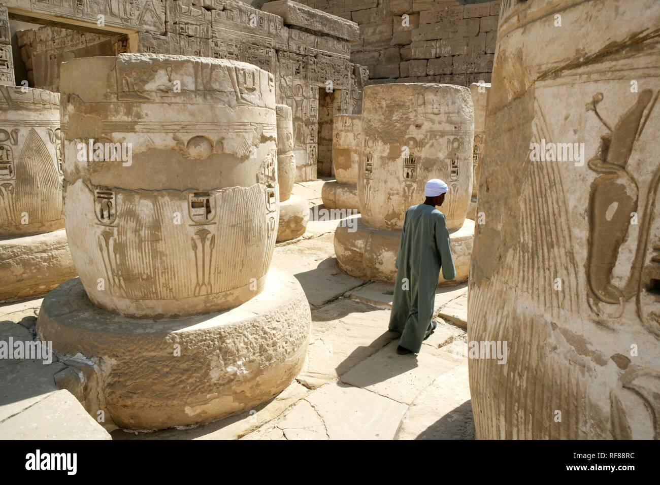 Guard, Medinet Habu, Mortuary Temple of Ramesses III, West Thebes, Luxor, Egypt, Africa Stock Photo