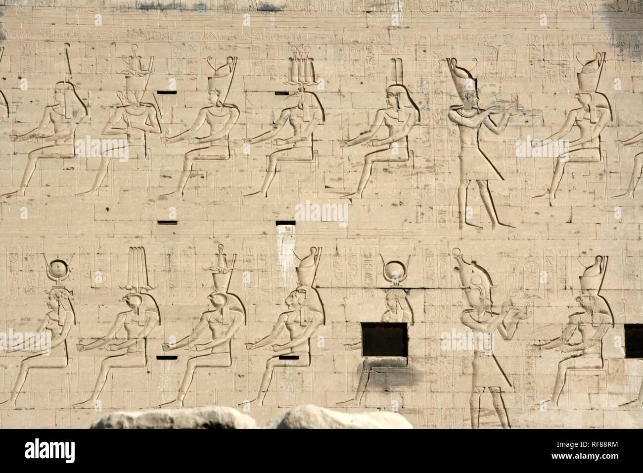 Hieroglyphs, Temple of Edfu (temple dedicated to the falcon god Horus), Edfu, Egypt, Africa Stock Photo