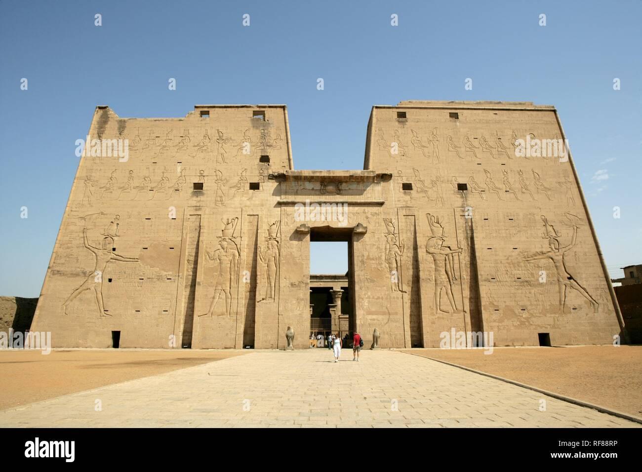 The Temple of Edfu (temple dedicated to the falcon god Horus), Edfu, Egypt, Africa Stock Photo