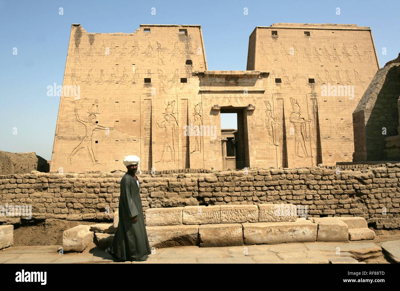Guard, Temple of Edfu (dedicated to the falcon god Horus), Edfu, Egypt, Africa Stock Photo