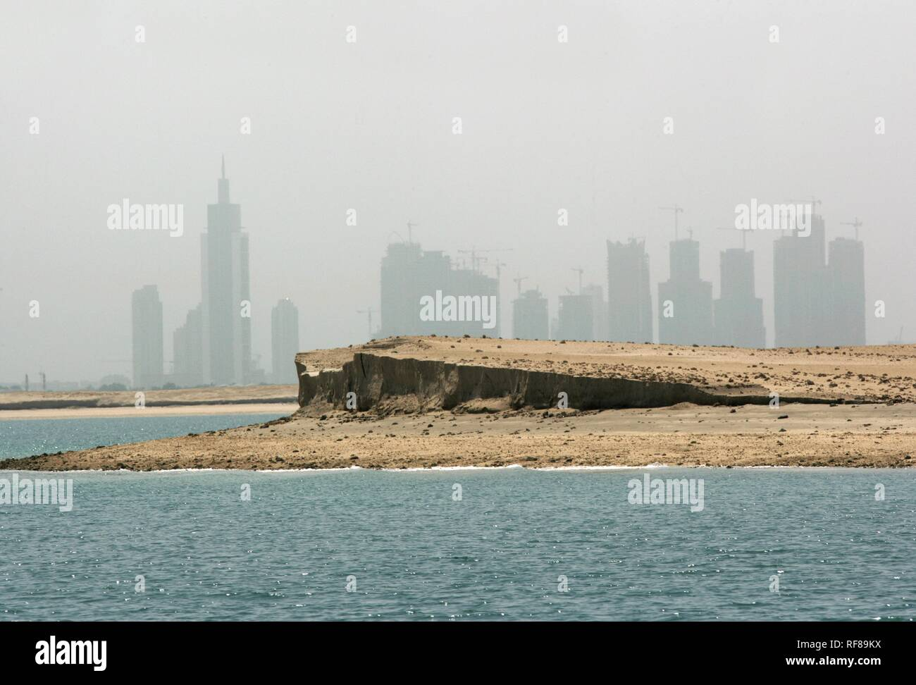 Dubai\'s skyline see from one of the artificial islands on a ...