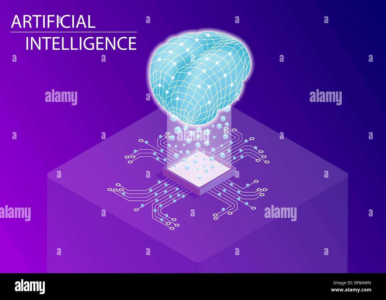 Artificial intelligence and neural network concept. 3d isometric vector illustration. - Stock Vector