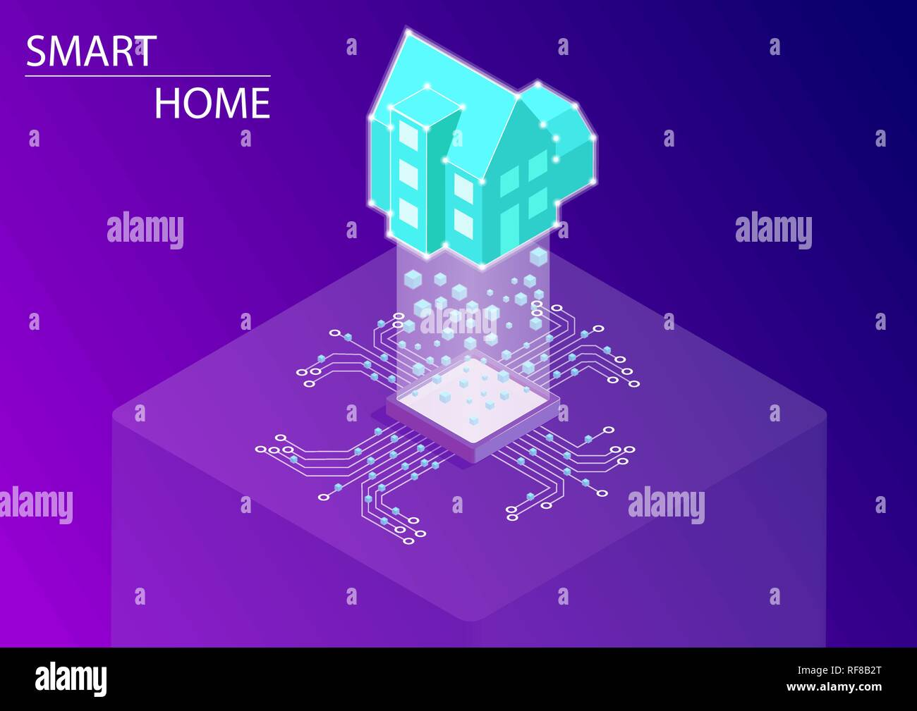Smart home and connected home automation concept. 3d isometric vector illustration. - Stock Vector