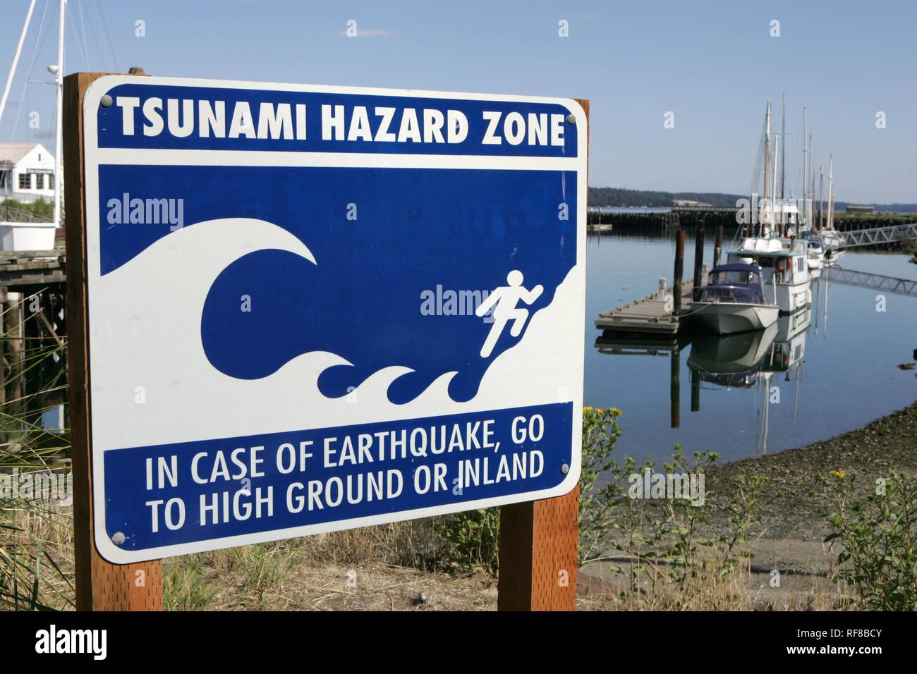 Tsunami warning signs in the harbour at Port Townsend, Washington