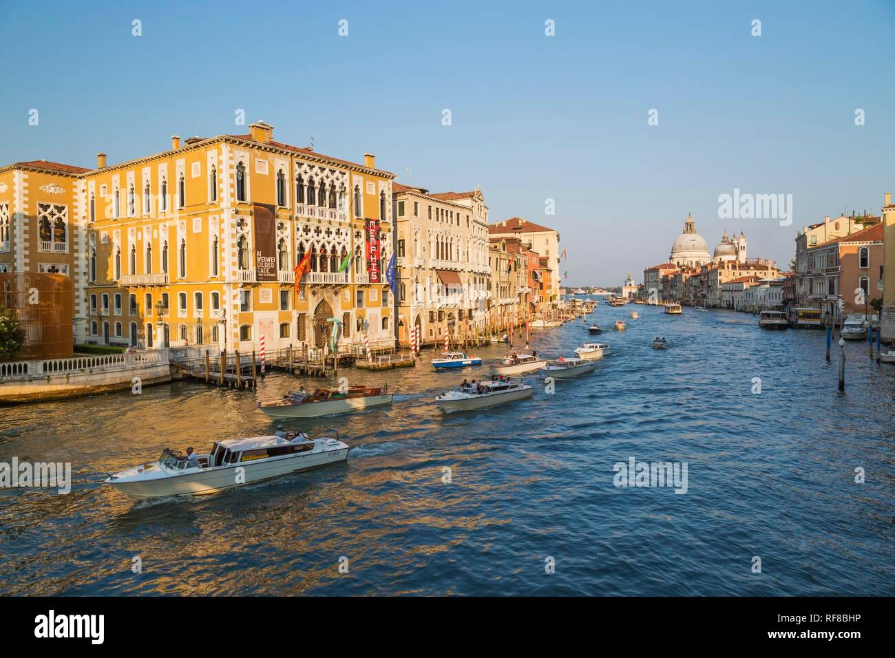 Water taxis and vaporettos on Grand Canal with Renaissance architectural style palace buildings in San Marco and Santa Maria - Stock Image