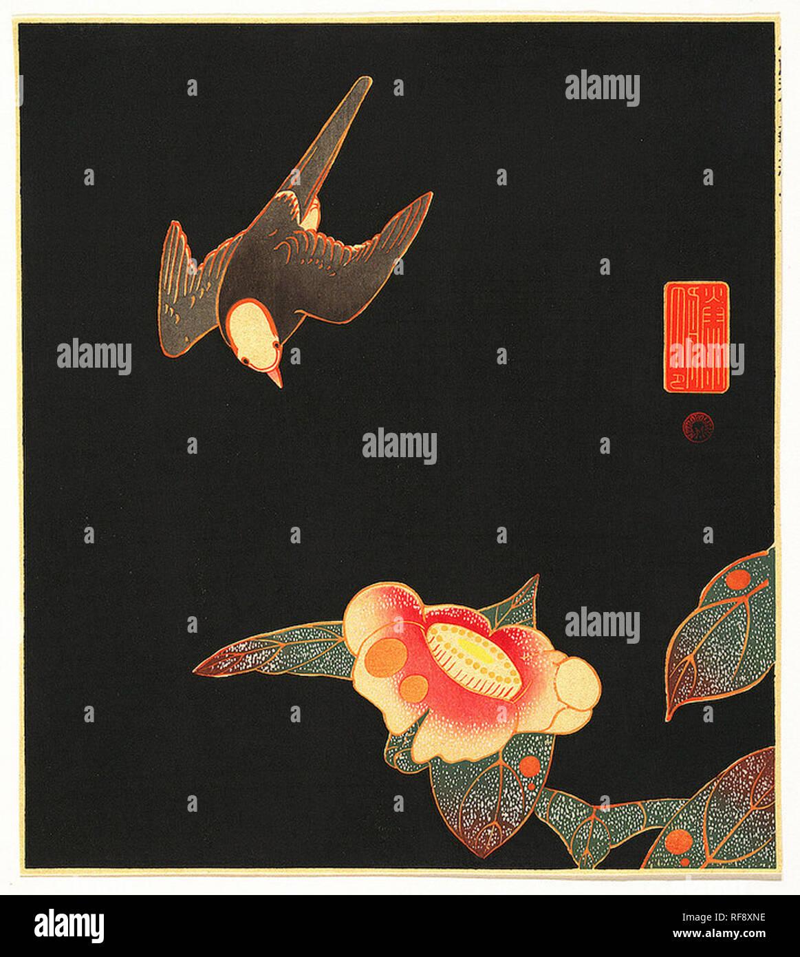 Vintage illustration of a stylised bird - Stock Image