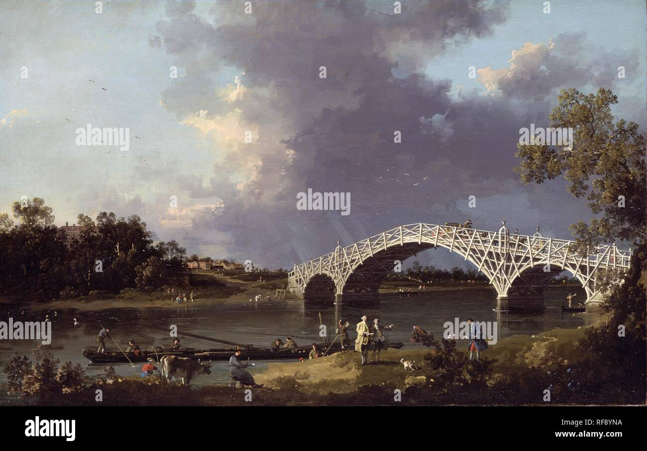 Canaletto - Dulwich Picture Gallery DPG600. Title: A View of Walton Bridge. Date: 1854. Materials: oil on canvas. Dimensions: 48.8 x 76.7 cm. Acquistion date: 1917 (gift of Miss E. Murray Smith). Nr.: DPG600. Source: http://dulwichgalleryfriends.files.wordpress.com/2009/01/canaletto_old_walton_bridge_7501.jpg - Stock Image