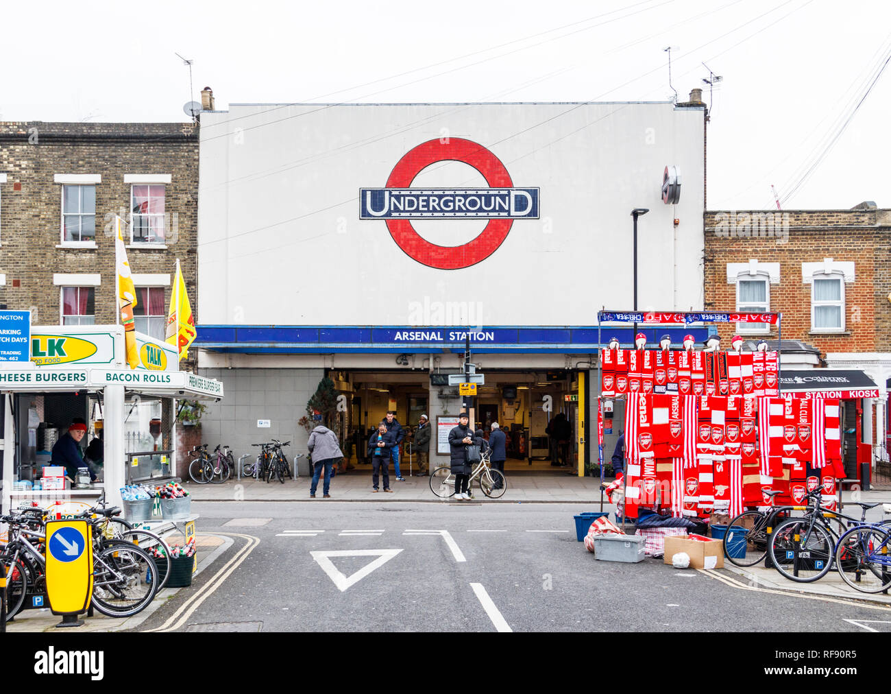 Arsenal tube station, on a match day (Arsenal v. Chelsea), prior to the arrival of fans, Gillespie Road, London, UK - Stock Image