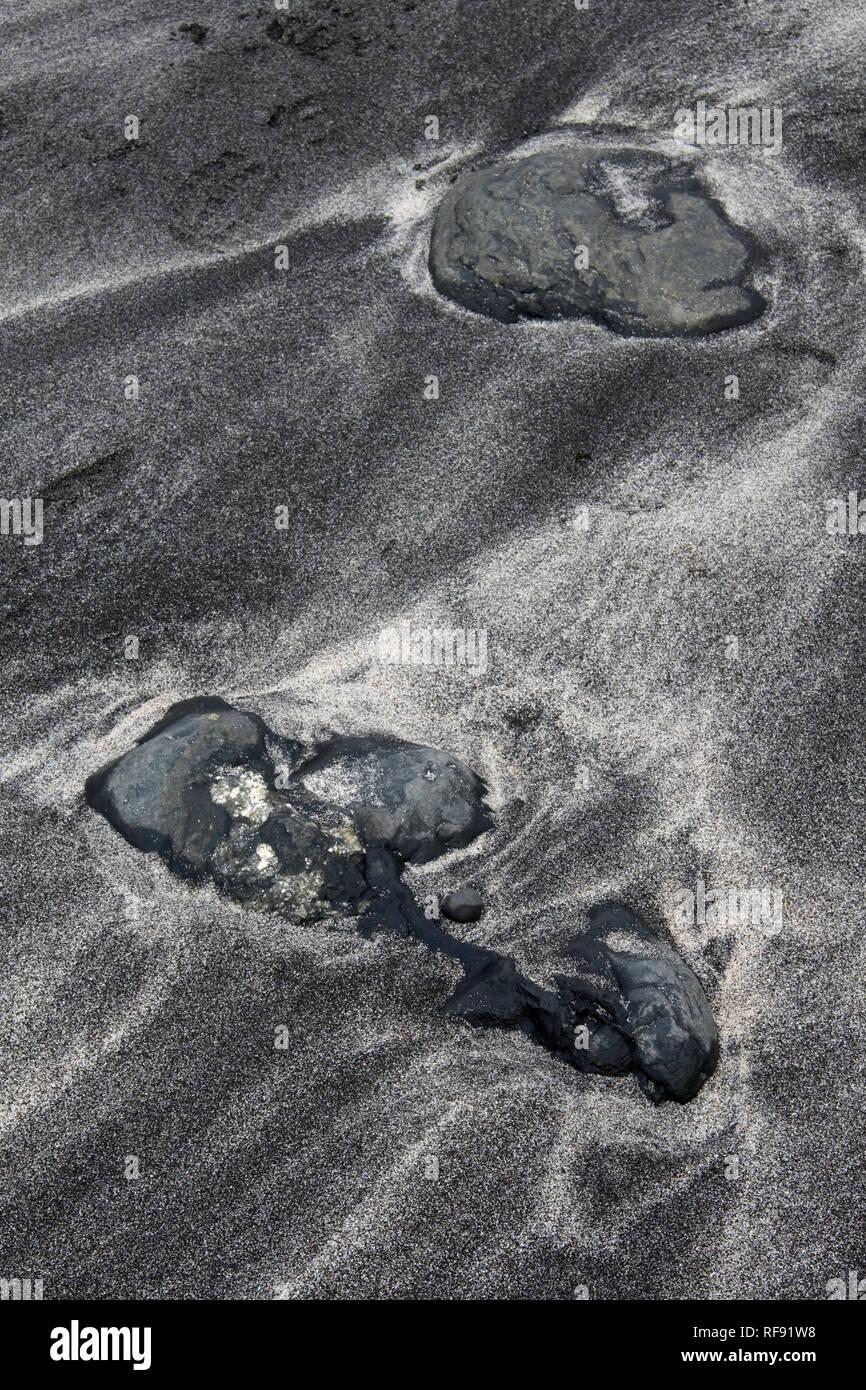 Sand & rock patterns, Talisker Bay, Isle of Skye Stock Photo