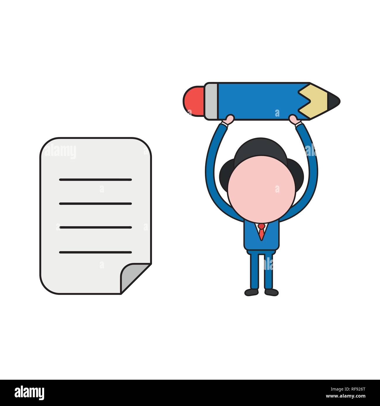 Vector illustration businessman character holding up pencil with written paper. Color and black outlines. - Stock Vector