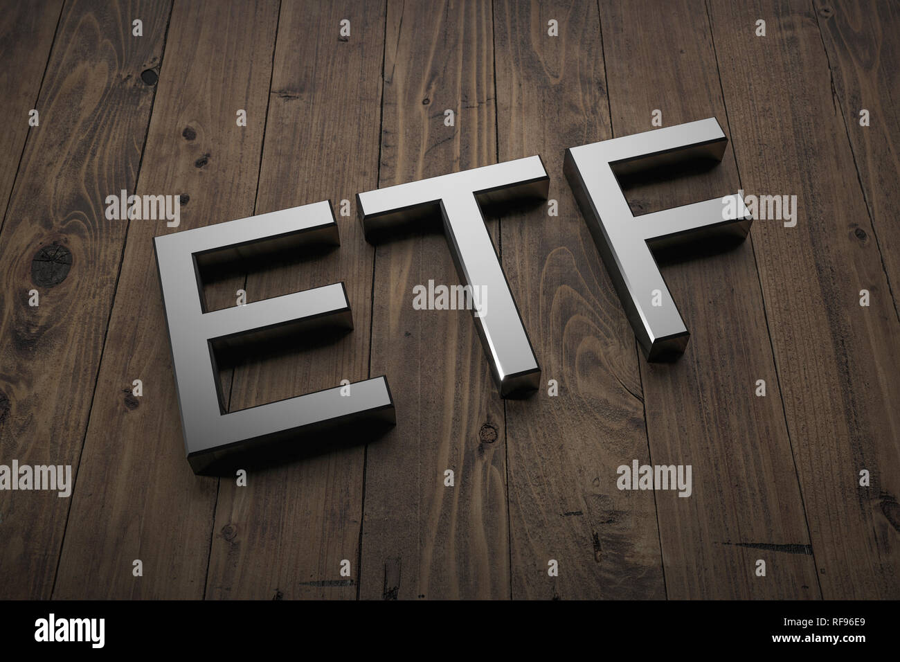 ETF - Text on table. 3d rendering Stock Photo