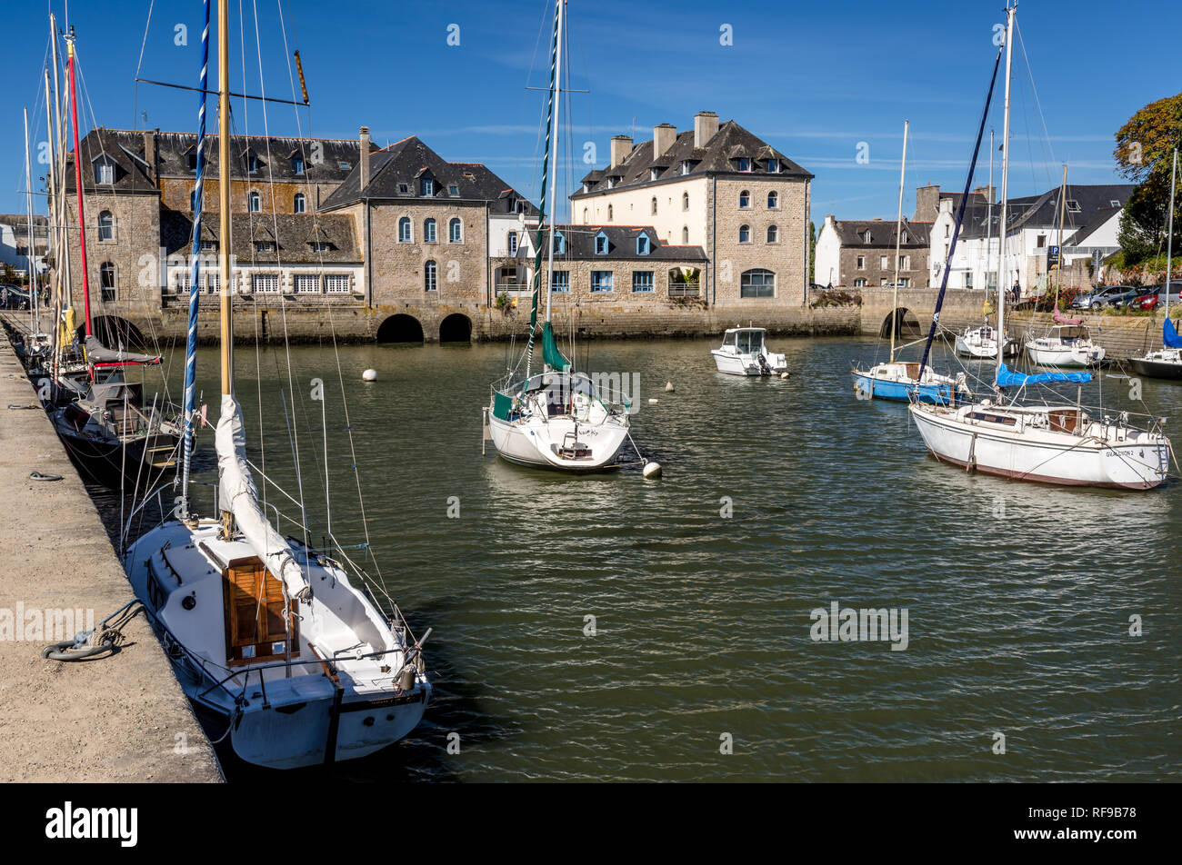 Boat Moorings at Pont-L'Abbe, Brittany - Stock Image