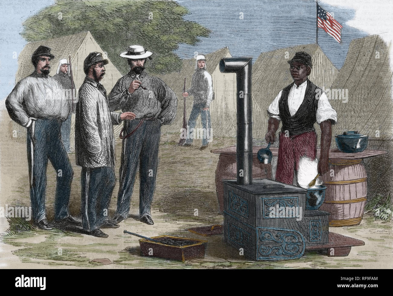 American Civil War. Union Army. Camp kitchen,2nd New York Regiment. Engraving by Fr.Vizetelly - Stock Image