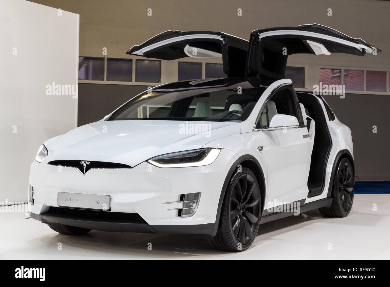Brussels Jan 18 2019 Tesla Model X Electric Luxury Crossover Suv Car Showcased At The 97th Brussels Motor Show 2019 Autosalon Stock Photo Alamy