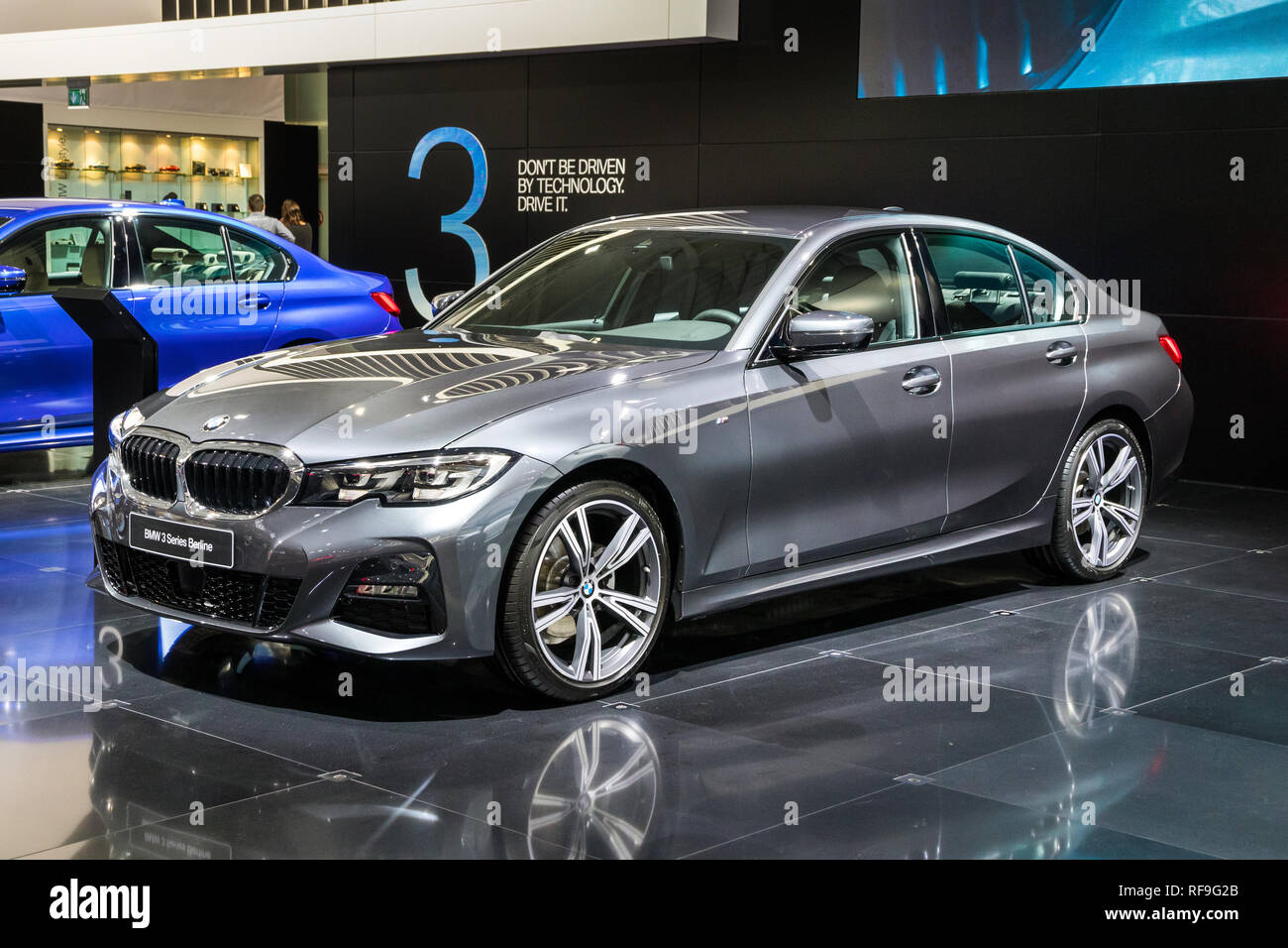 Brussels Jan 18 2019 New Bmw 3 Series Berline Car At The 97th