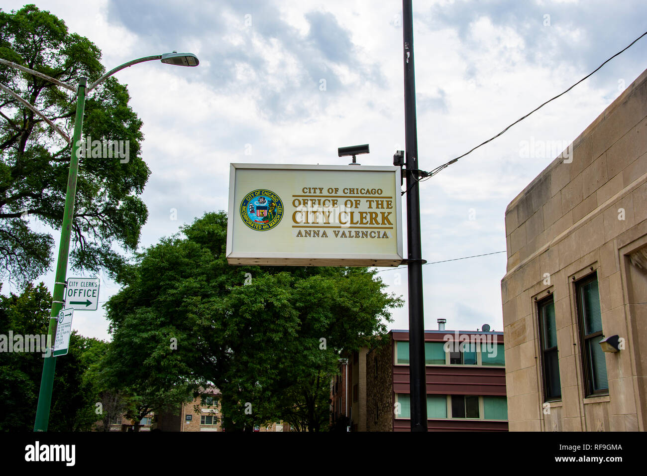 Chicago, Illinois, United States - August 9, 2018: Shot of the sign in front of the Office of the City Clerk of Chicago located in Jefferson Park, Chi - Stock Image