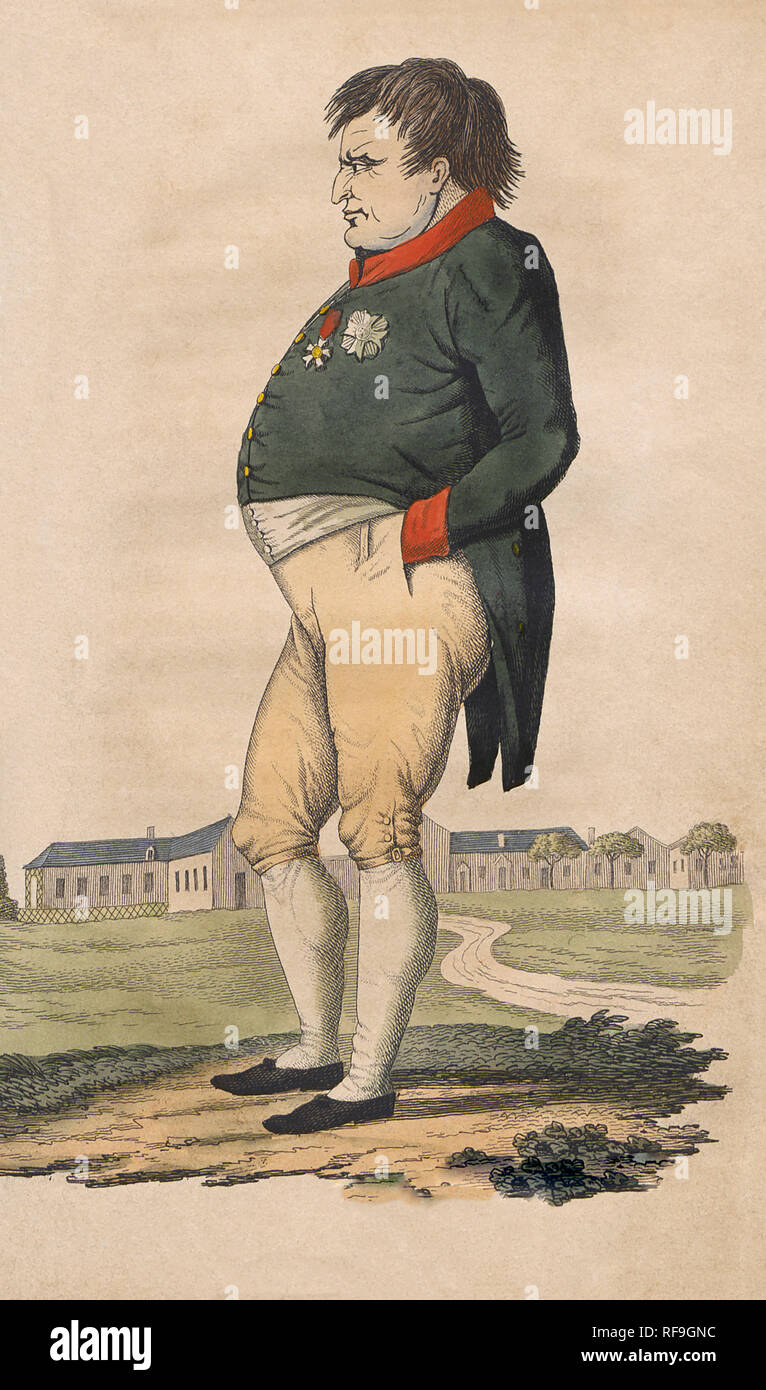 Caricature of Napoleon Bonaparte  on St. Helena made two months before he died on May 5, 1821.  After a 19th century print. - Stock Image