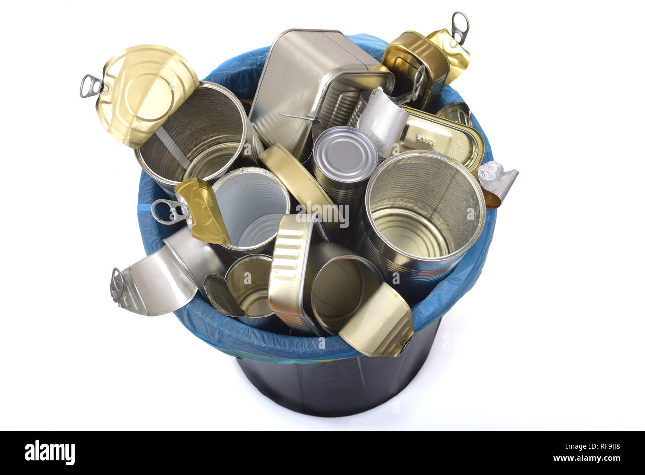 trash can (tin can food) full of cans on white - Stock Image