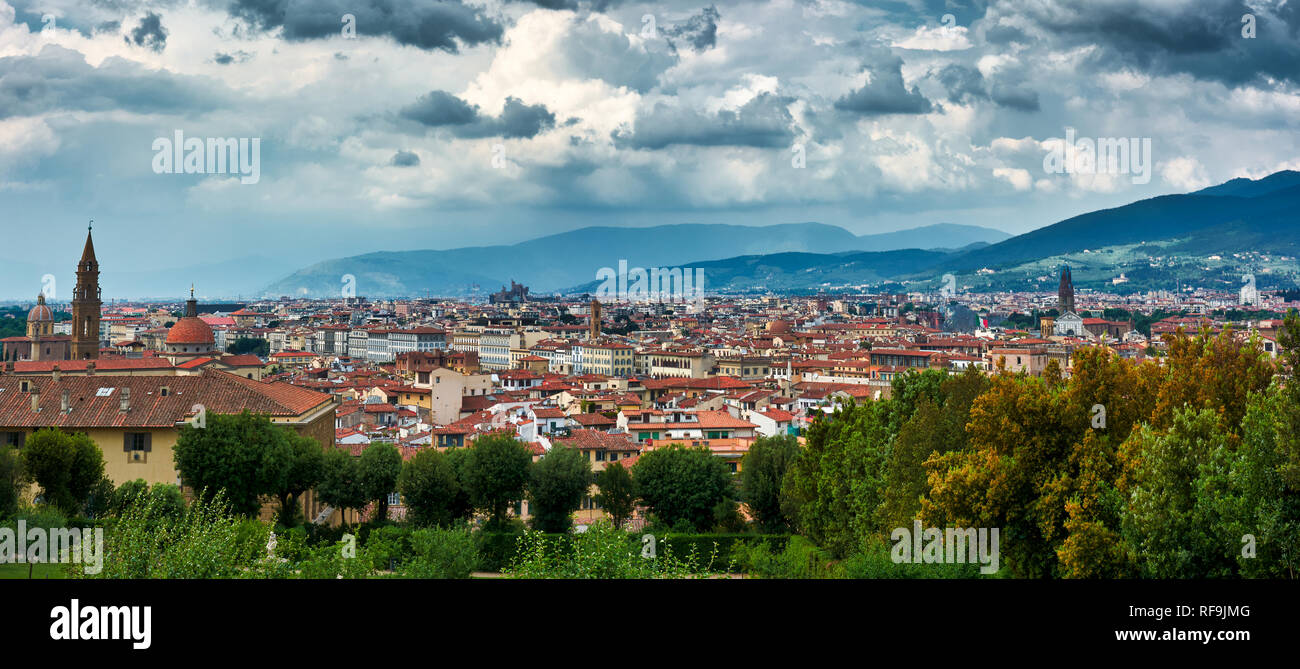 Panoramic View Of The City Of Florence Italy From The Boboli