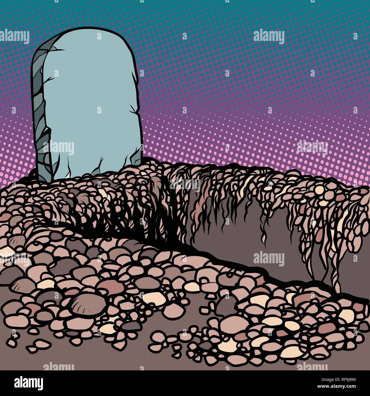 Empty dug grave. Cemetery graveyard churchyard necropolis - Stock Vector