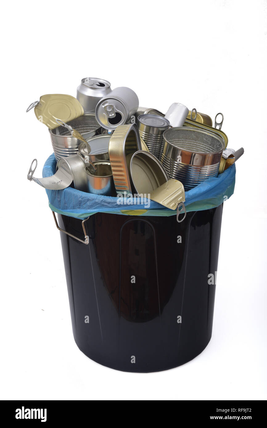 trash can (tin can food and drink) full of cans on white - Stock Image