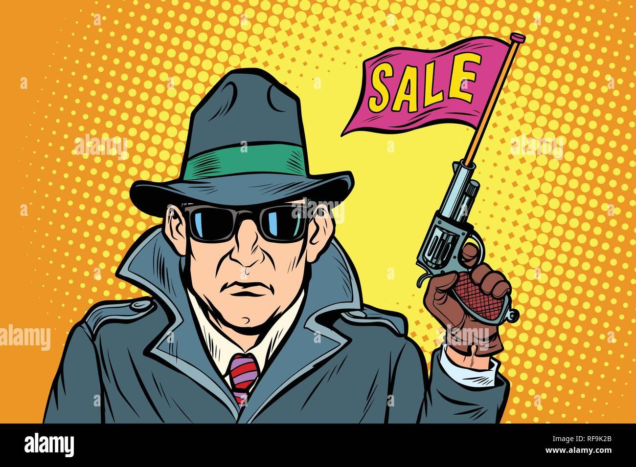 spy secret agent start sales Stock Vector