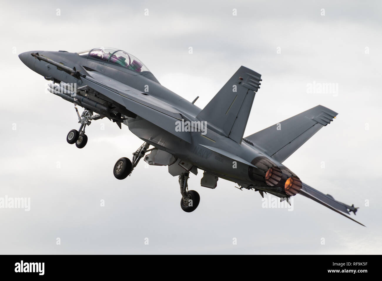 A Boeing F/A-18F Super Hornet multirole fighter jet of the United States Navy at the Royal International Air Tattoo 2016. - Stock Image