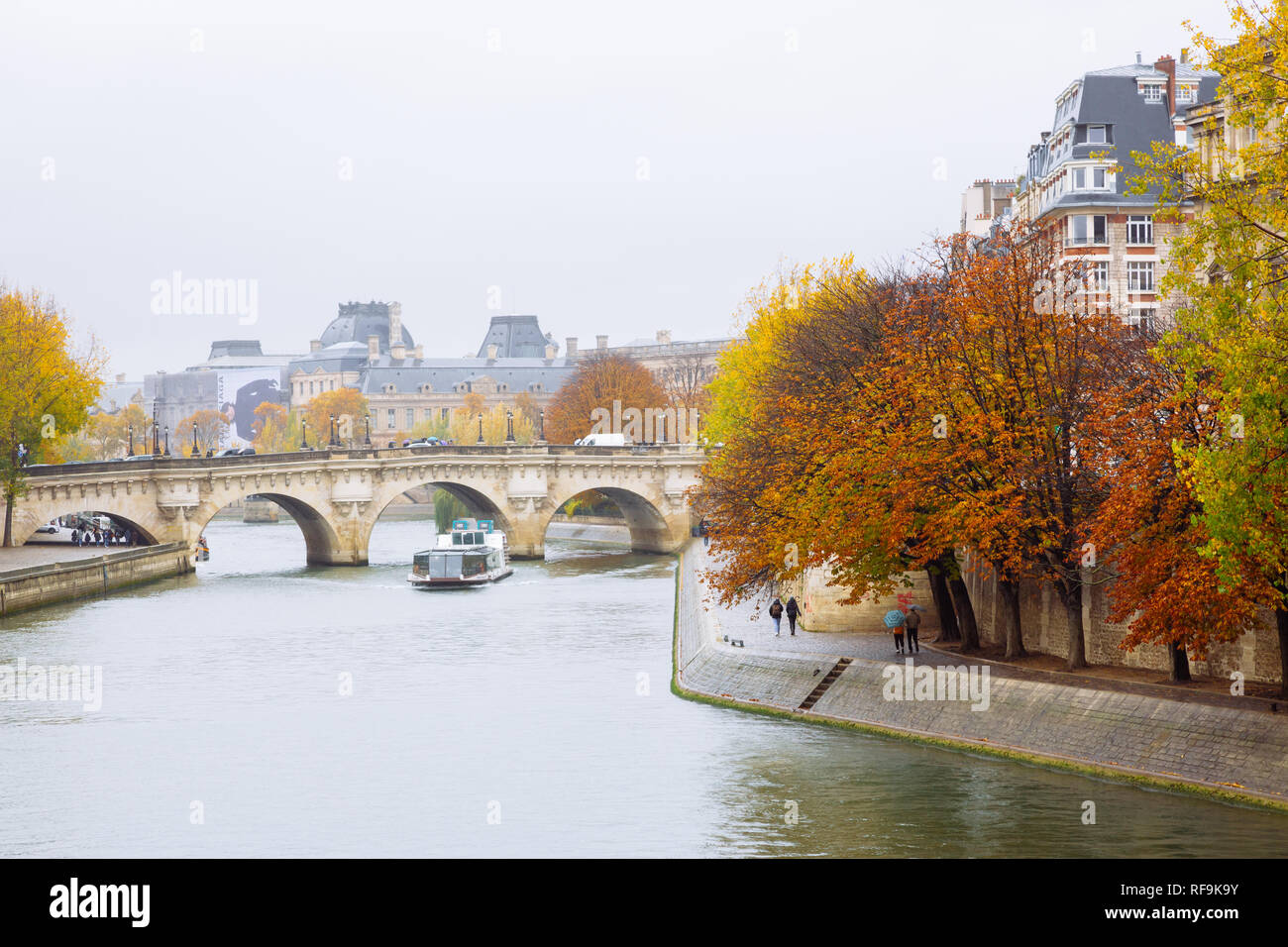Paris (France) - Pont Neuf and the river Seine in autumn Stock Photo