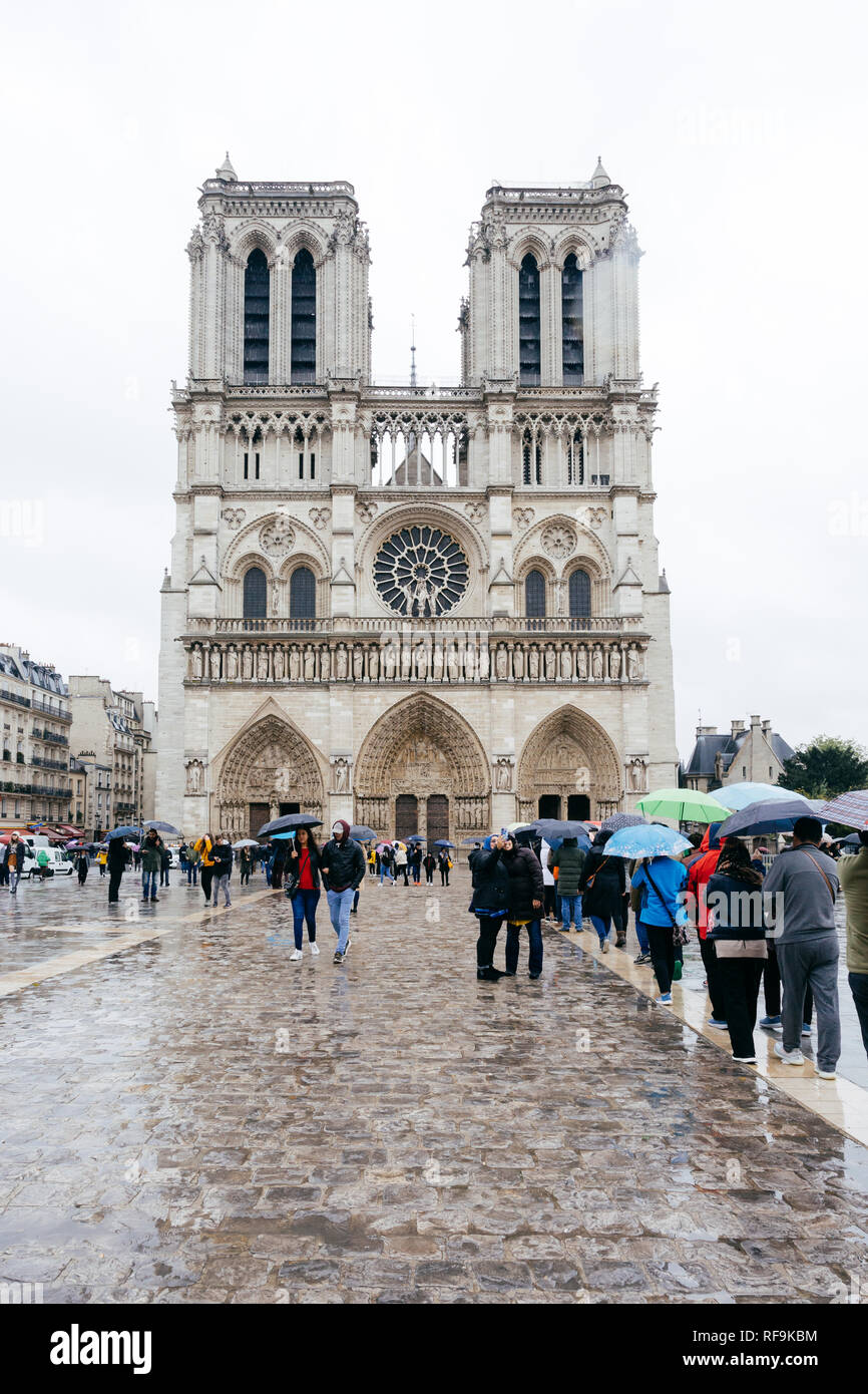Paris (France) - Notre Dame church in a rainy day Stock Photo