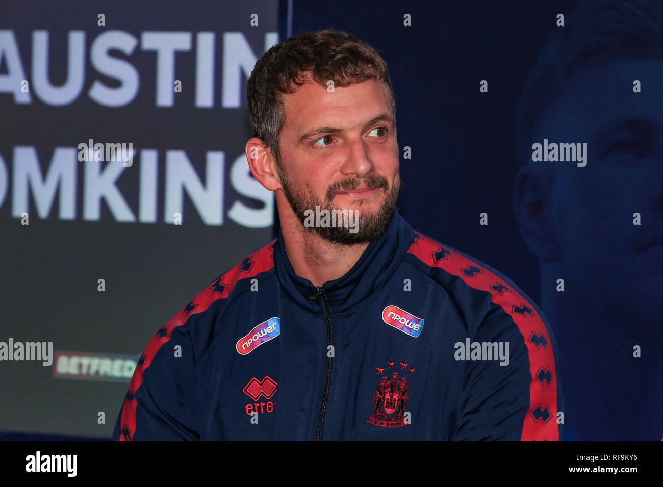 24th January 2019, Old Trafford, Manchester, England, Betfred Super League Launch 2019 ; Sean O'Loughlin of Wigan Warriors   Credit: Mark Cosgrove/News Images - Stock Image