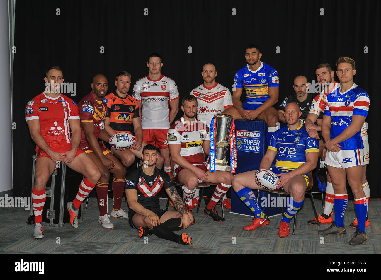 24th January 2019, Old Trafford, Manchester, England, Betfred Super League Launch 2019 ; Captains group shot   Credit: Mark Cosgrove/News Images - Stock Image