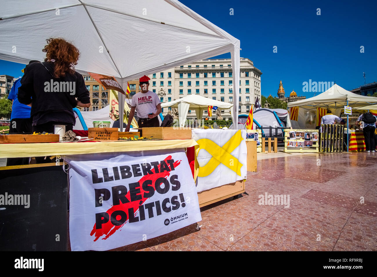 Protest for independence of Catalonia and freedom for political prisoners takes place at Plaça de Catalunya, Catalonia Square Stock Photo