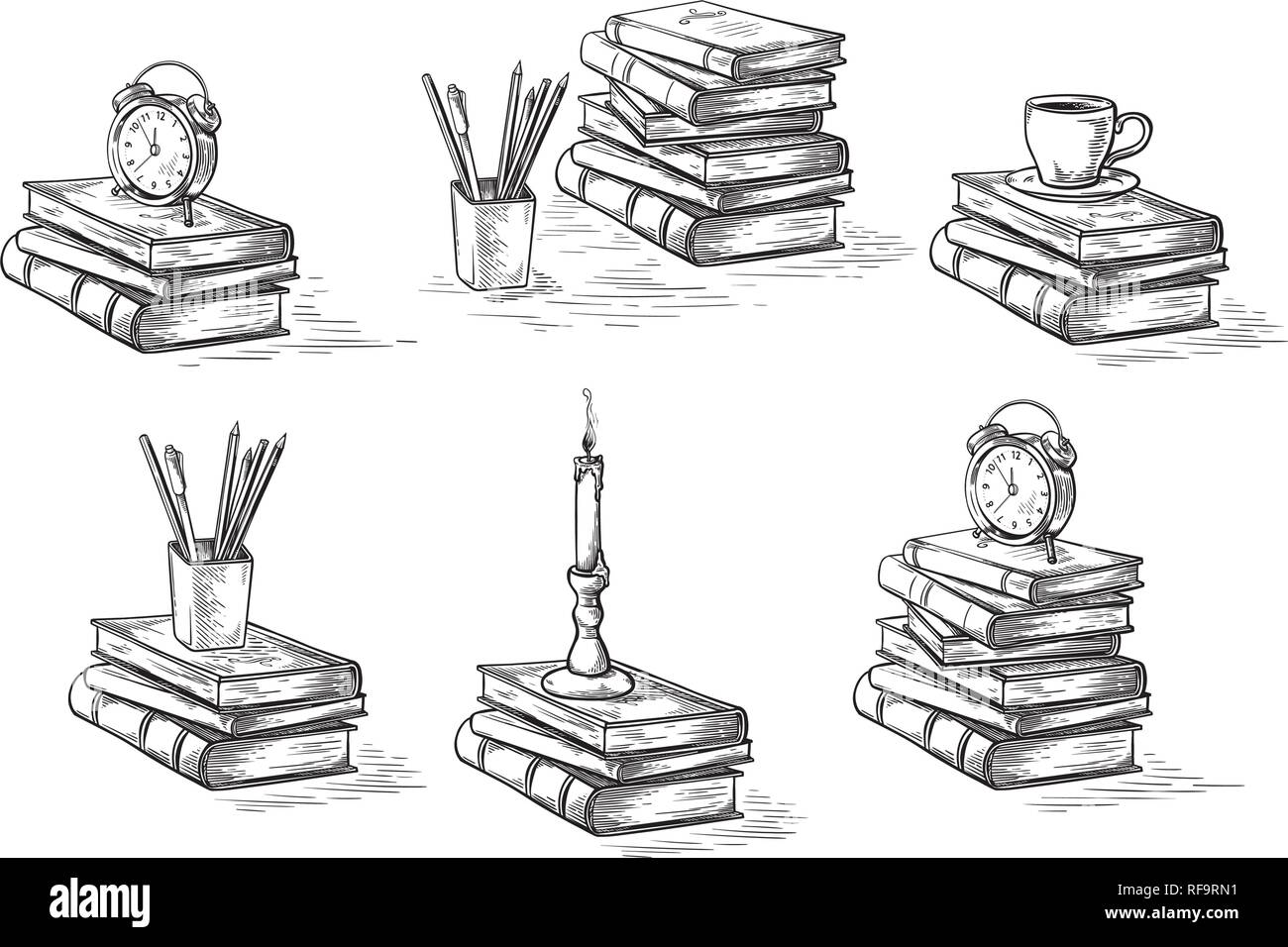 hand drawn sketch stack books set clock pen and candle isolated on white background vector illustration. Stock Vector
