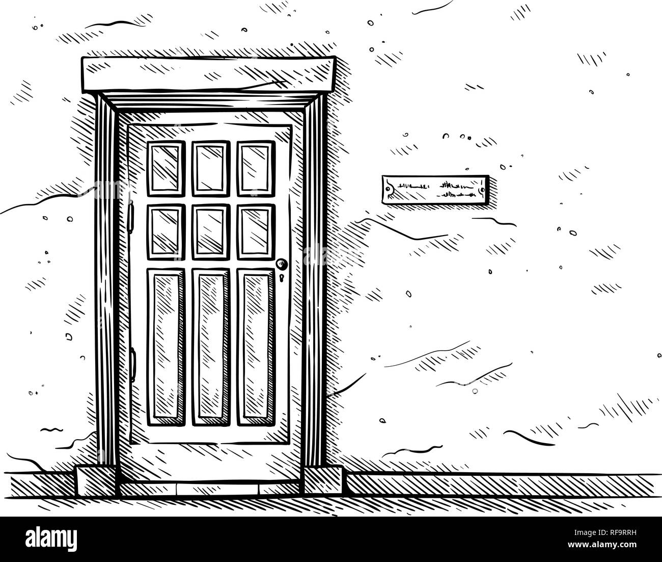 sketch hand drawn old rectangular wooden door in brick wall vector illustraion - Stock Image