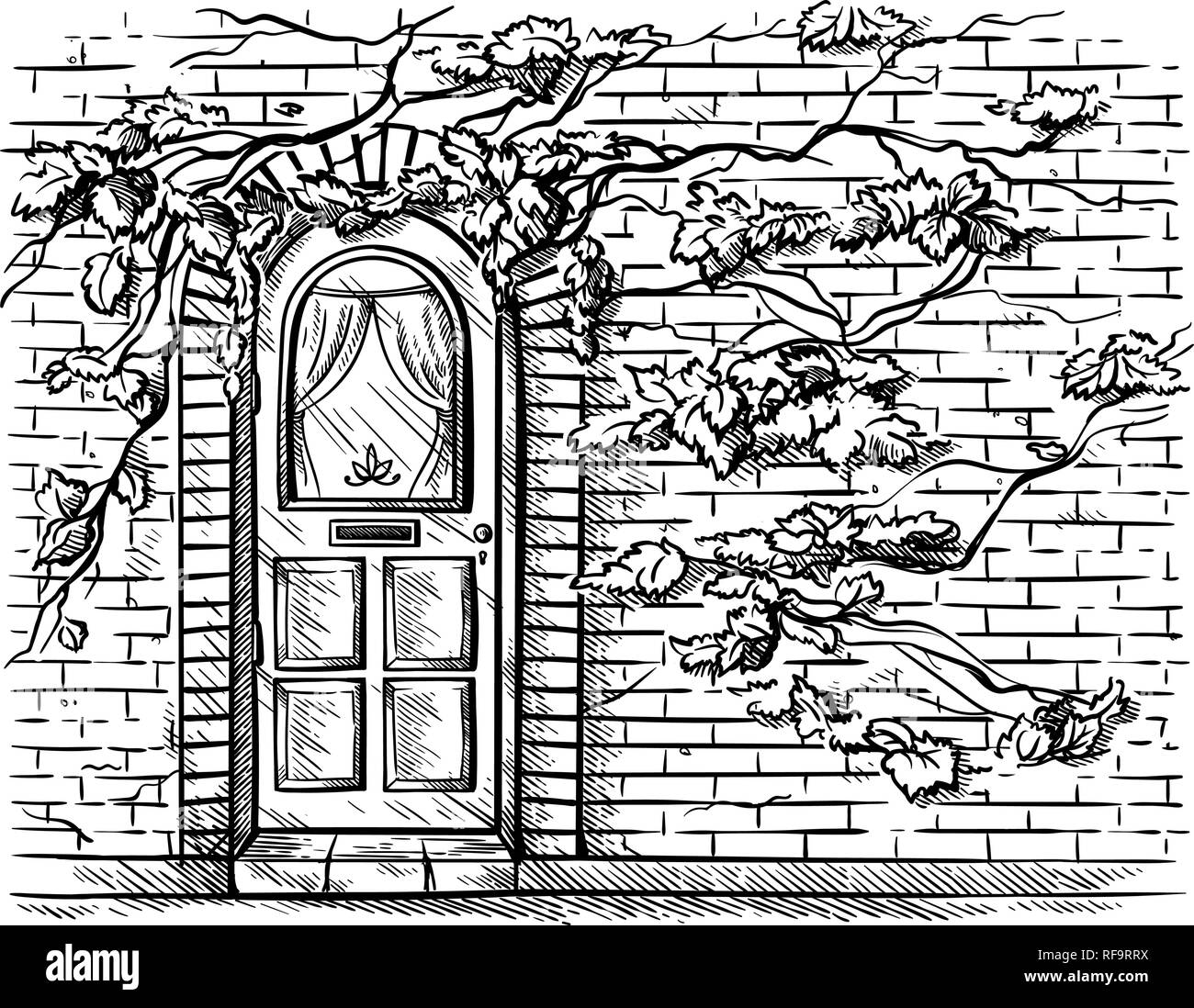 sketch hand drawn old double arched wooden door in brick grape braided wall vector illustration - Stock Image