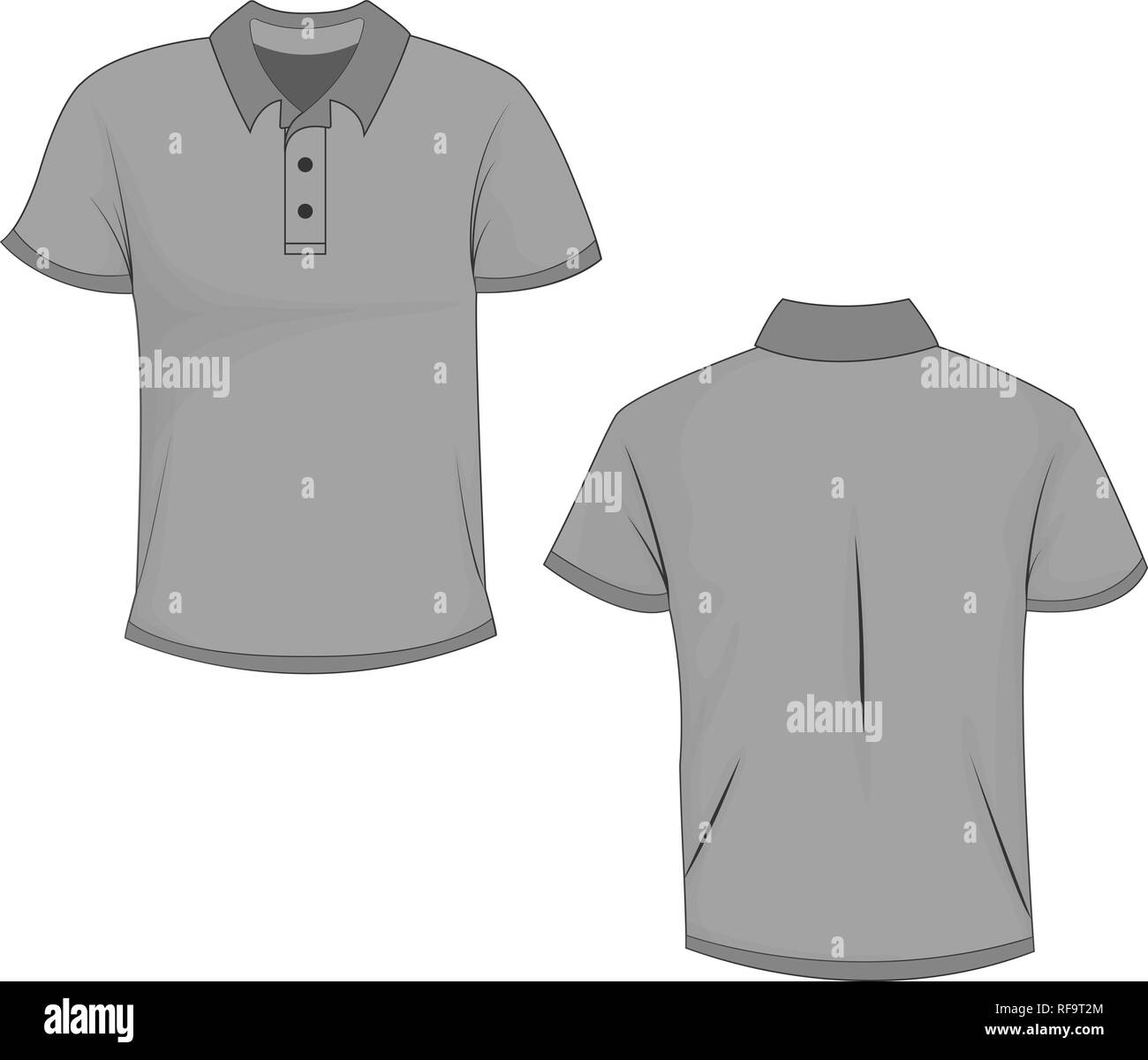 Gray Polo T Shirt Mock Up Front And Back View Isolated On White Background Design Polo Shirt Template And Mockup For Print Vector Illustration E Stock Vector Image Art Alamy