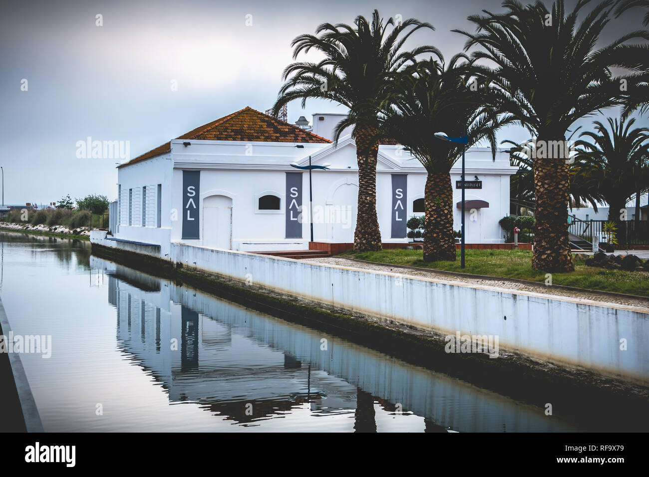 Aveiro, Portugal - May 7, 2018: beautiful architecture detail modern house in the city center near a water channel on a spring day - Stock Image