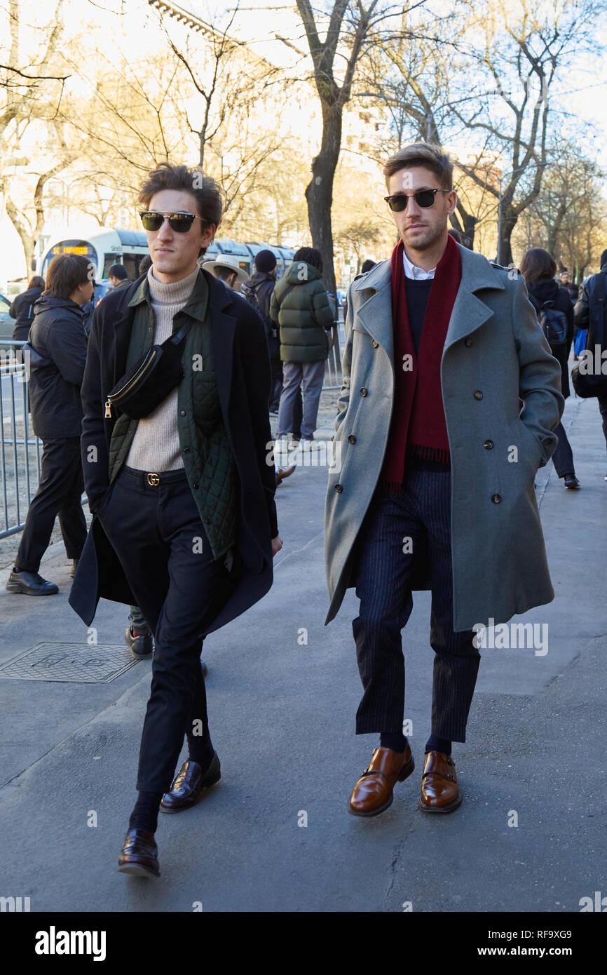 MILAN, ITALY , JANUARY 14, 2019 Men walking before Fendi