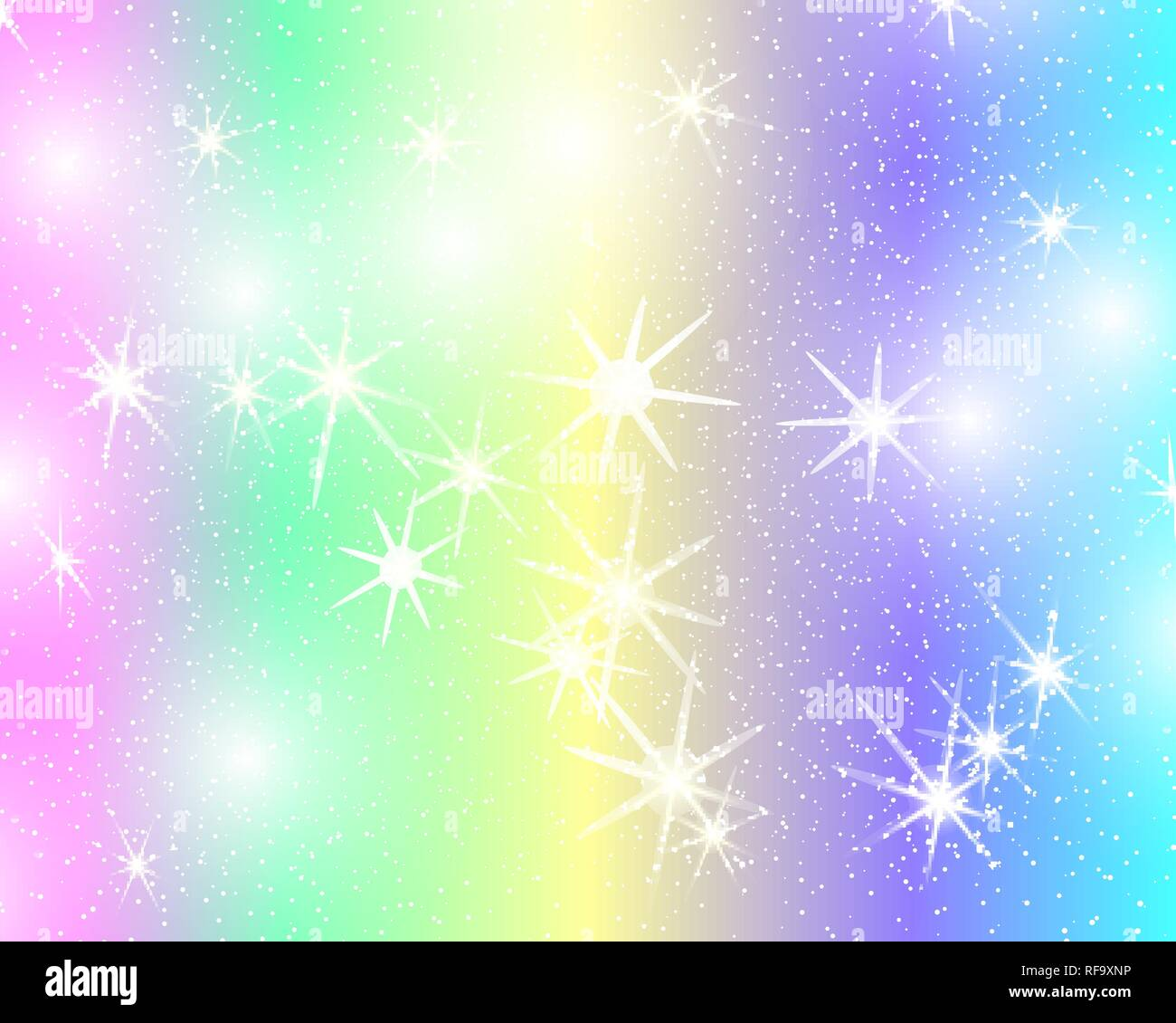 unicorn rainbow background holographic sky in pastel color bright mermaid pattern in princess colors vector illustration fantasy gradient colorful RF9XNP