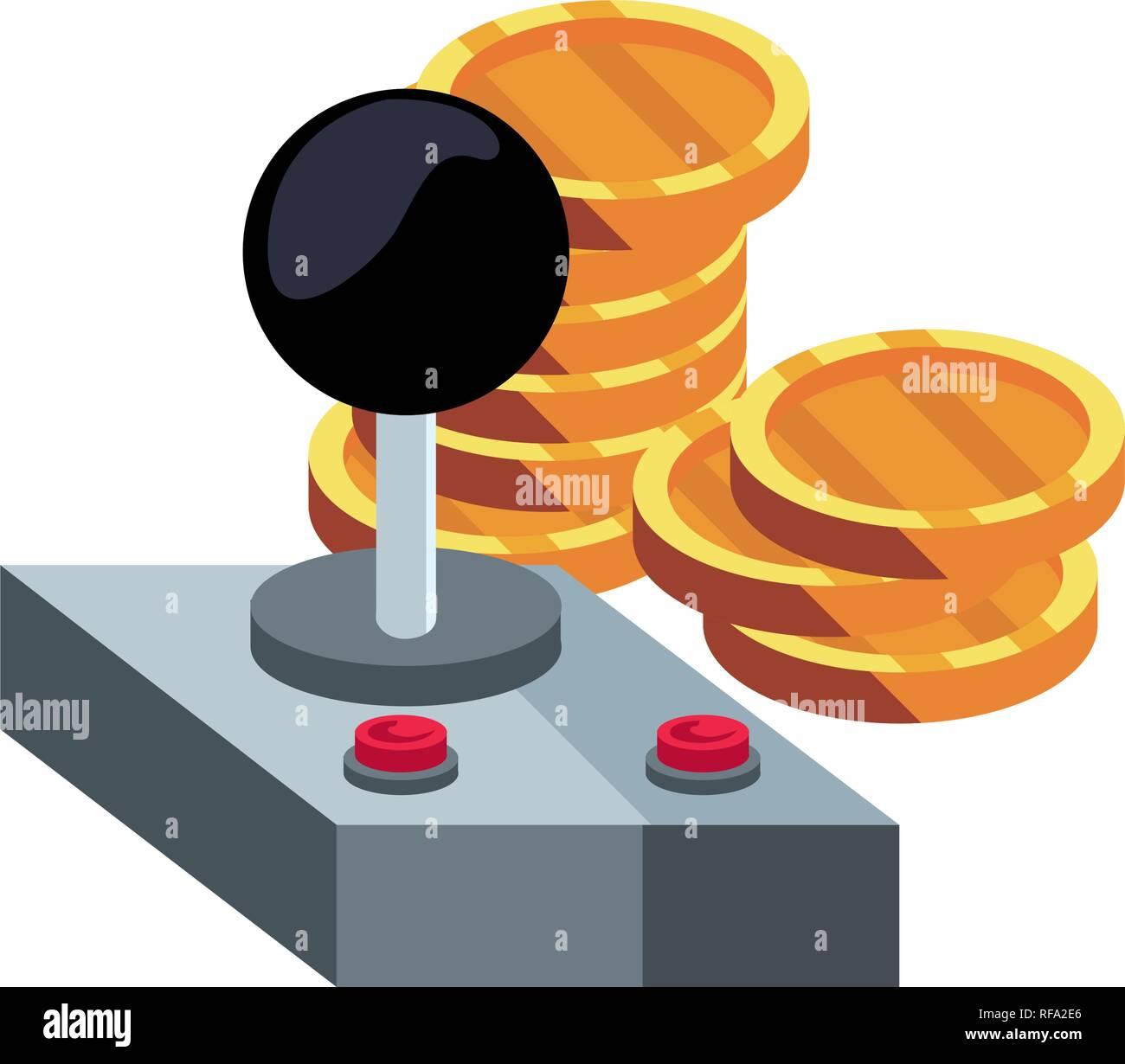 joystick video game coins background vector illustration - Stock Image